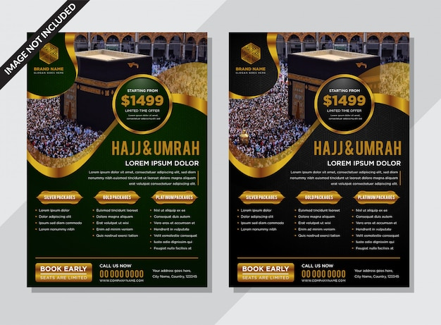 Volantino moderno islamico nero e verde con decori in oro