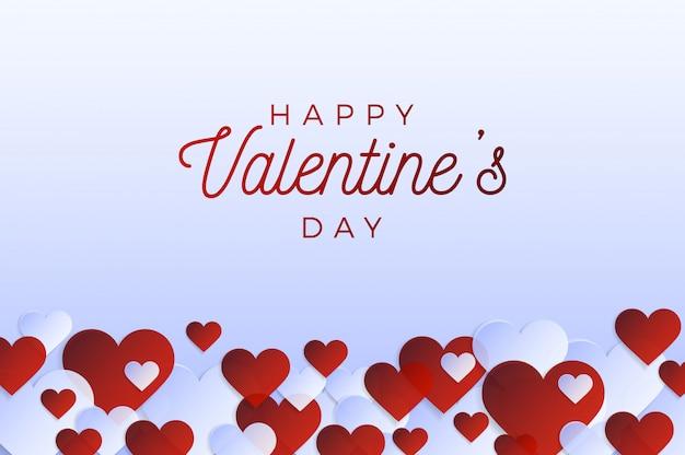 Volantino o carta orizzontale di san valentino. amore astratto per il tuo biglietto di auguri di san valentino. cornice orizzontale di cuori rossi su sfondo grigio.