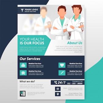 Volantino o modello di assistenza sanitaria con doctor character e servizio offerto.