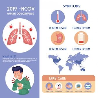 Volantino pandemia covid19 con uomo malato e infografica