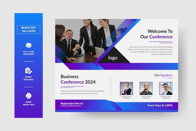Volantino per conferenza d'affari orizzontale aziendale