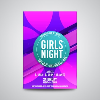 Volantino per feste notturne per ragazze