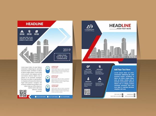 Volantino per layout di copertina in a4 con forme geometriche colorate