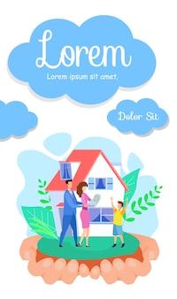 Volantino piatto di affari immobiliari, modello di brochure