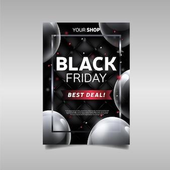 Volantino promozionale migliore offerta realistica del black friday