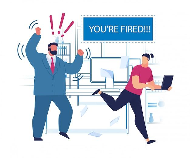 Volantino pubblicitario pensare forte sei licenziato.