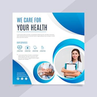 Volantino quadrato concetto di assistenza sanitaria