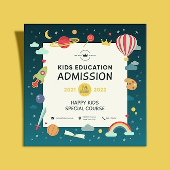 Volantino quadrato di ammissione all'istruzione per bambini