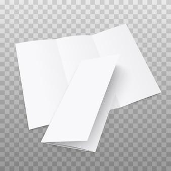 Volantino ripiegabile in bianco con coperchio su trasparente
