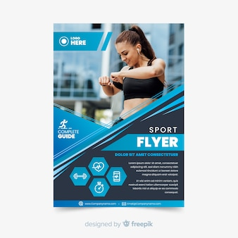 Volantino sport con modello di foto
