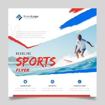 Volantino sportivo con surfista