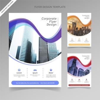 Volantino template design arco misto 3 scelte di colore, livello organizzato