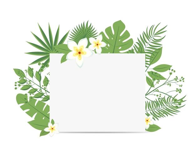 Volantino tropicale con foglie di palma e fiori esotici