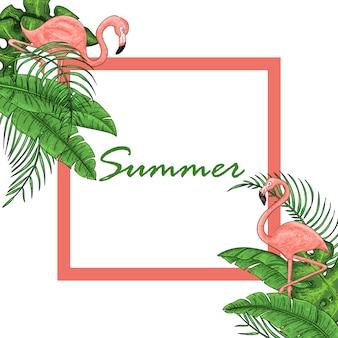 Volantino tropicale hawaiano con uccelli, foglie di palma
