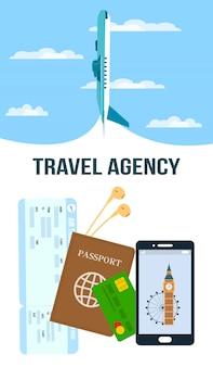 Volantino verticale di vettore di agenzia di viaggi con lettering
