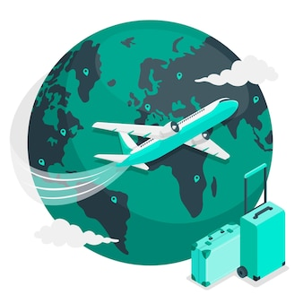 Volare in giro per il mondo (con aereo) illustrazione del concetto
