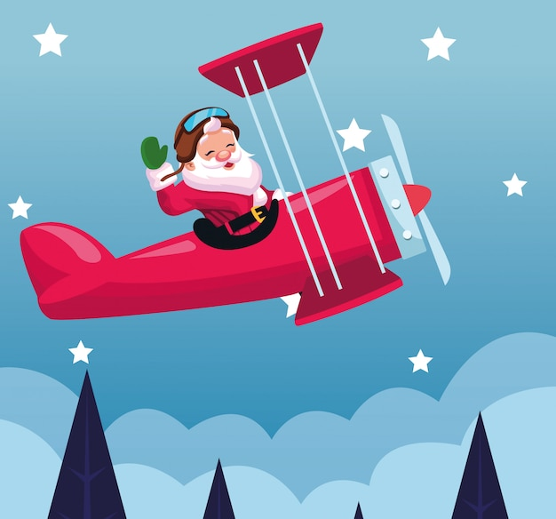 Volo del babbo natale in un aeroplano durante la notte nevosa