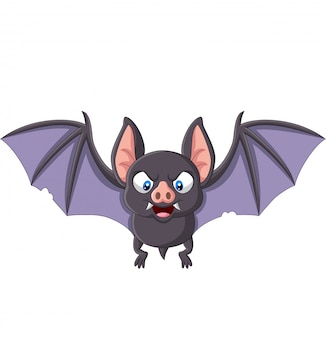 Volo del pipistrello del fumetto isolato su bianco