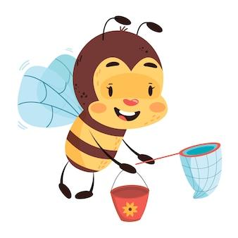 Volo dell'ape con rete e secchio su sfondo bianco isolato. illustrazione di disegno di carattere dei bambini dell'ape.