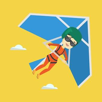 Volo della donna sull'illustrazione di vettore del deltaplano.