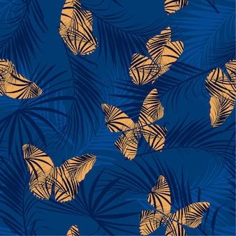 Volo della farfalla sul vettore senza cuciture del modello della foresta