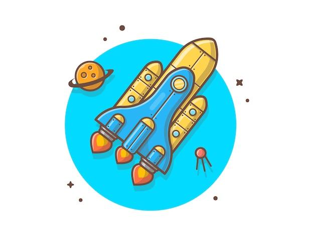 Volo della navetta spaziale con l'illustrazione di vettore del satellite e del pianeta