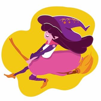 Volo della strega di halloween con l'illustrazione della scopa