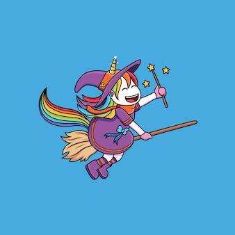 Volo di unicorno di streghe usando una scopa