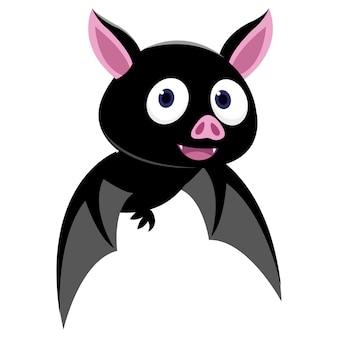 Volo divertente del pipistrello isolato su fondo bianco