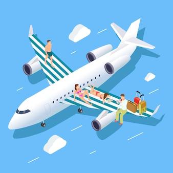Volo isometrico al concetto di estate con rilassanti persone, bagagli e travel manager