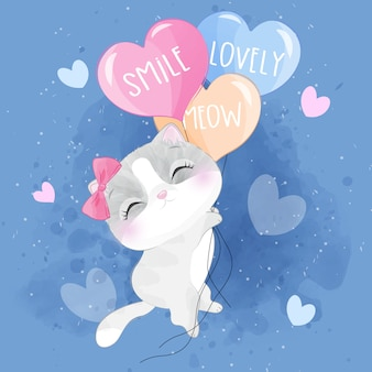 Volo sveglio del gattino della lettiera con l'illustrazione dell'aerostato
