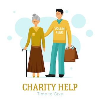 Volontari beneficenza aiuto organizzazione poster piatto
