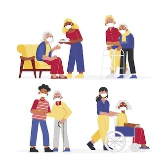 Volontari che aiutano concetto anziano