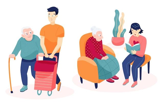 Volontari che aiutano gli anziani