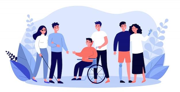 Volontari che aiutano le persone disabili