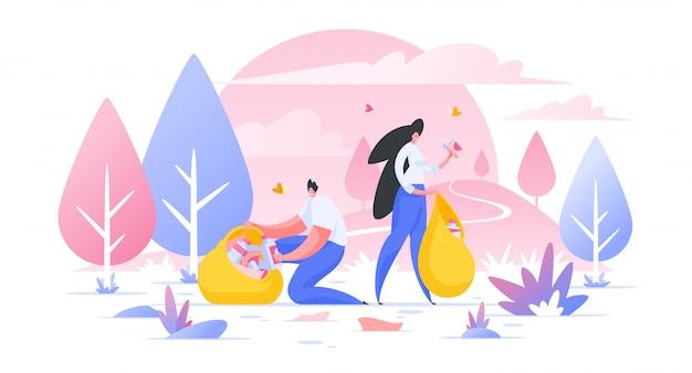 Volontari che puliscono i personaggi dei cartoni animati selvaggi dell'illustrazione di area naturale che raccolgono immondizia in borsa