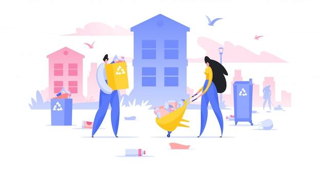 Volontari che raccolgono rifiuti nell'illustrazione del centro della città