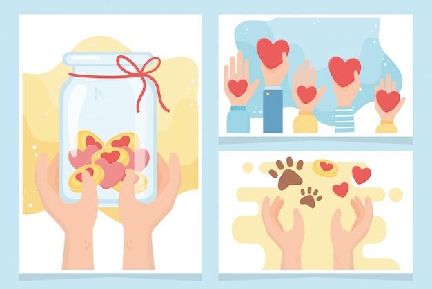 Volontariato, aiuto donazione in beneficenza protezione del denaro carte animali amore