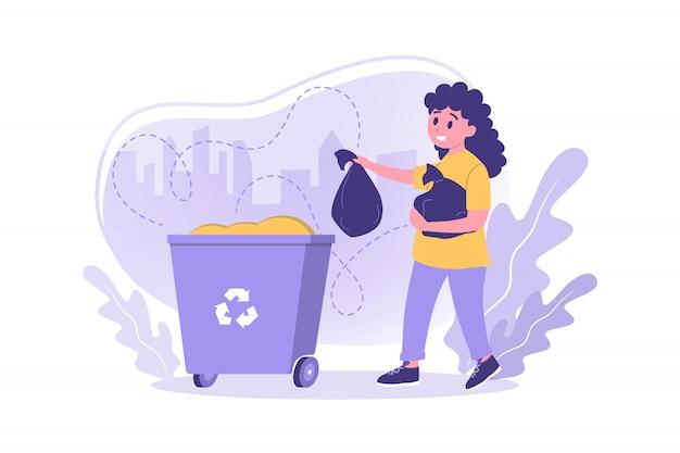 Volontariato, ecologia, lavoro, concetto di riciclaggio