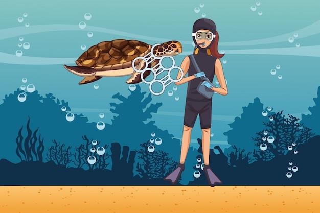Volontario per la pulizia del mare
