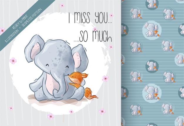 Volpe adorabile dell'elefante sveglio con il modello senza cuciture