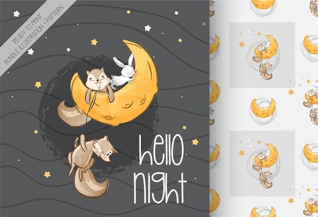 Volpe adorabile sveglia sul modello senza cuciture della luna