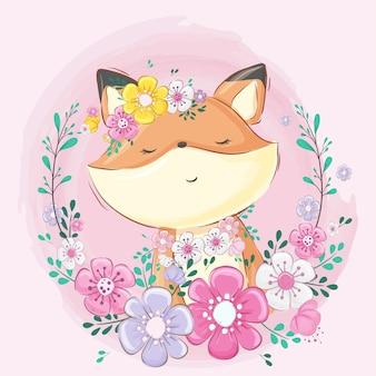 Volpe carina con fiori di cartone animato