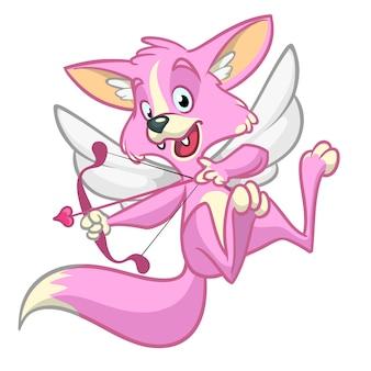 Volpe cupido. illustrazione di un cupido di volpe per san valentino