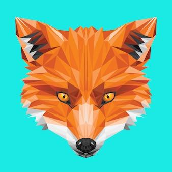 Volpe low poly testa arancione occhio selvatico