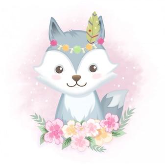 Volpe sveglia con l'illustrazione disegnata a mano dei fiori