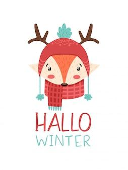 Volpe sveglia di inverno in cappello e corna con l'inverno di ciao del testo