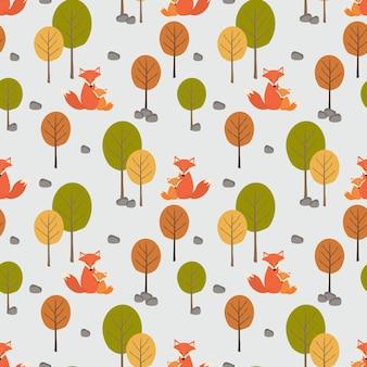Volpe sveglia (mamma e suo figlio) nel modello senza cuciture della foresta di autunno.
