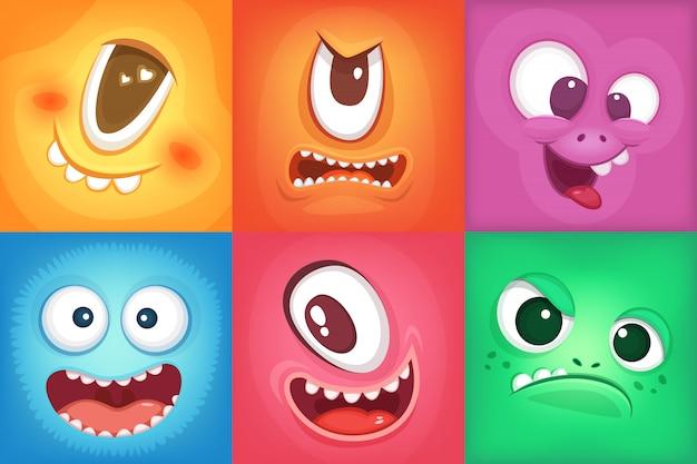 Volti di cartoni animati di mostri. demoni sorrisi e grande bocca pazza. mostro di vettore divertente, illustrazione di colore