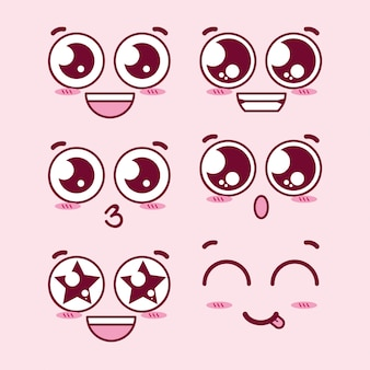 Volti di espressione occhi kawaii